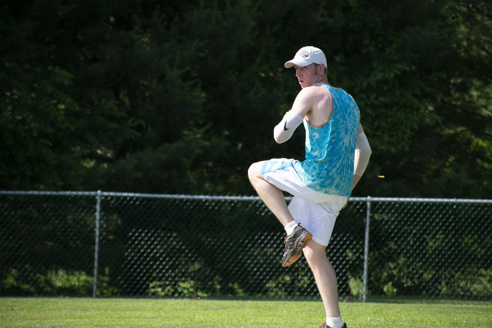 Sean Seffy (Cloud9) readies to deliver a pitch in the Wiffle Wars title game. Sean threw 15, no run innings and had two game winning hits en route to being named tournament MVP (July 16, 2018)