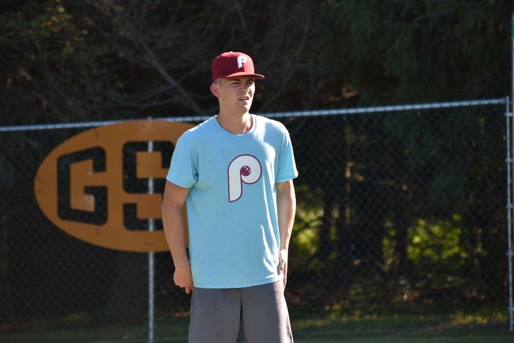 Ridley Park's Colin Pollag looks in towards the strike zone during an early pool play game. (June 16, 2018)