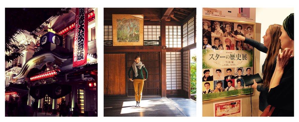Kabukiza-teatteri Tokiossa, meditaation jälkeen Kiotossa,  otokoyaku -tähtien eli miesrooleja esittävien naisten fanitusta Takarazuka Grand -teatterin aulassa