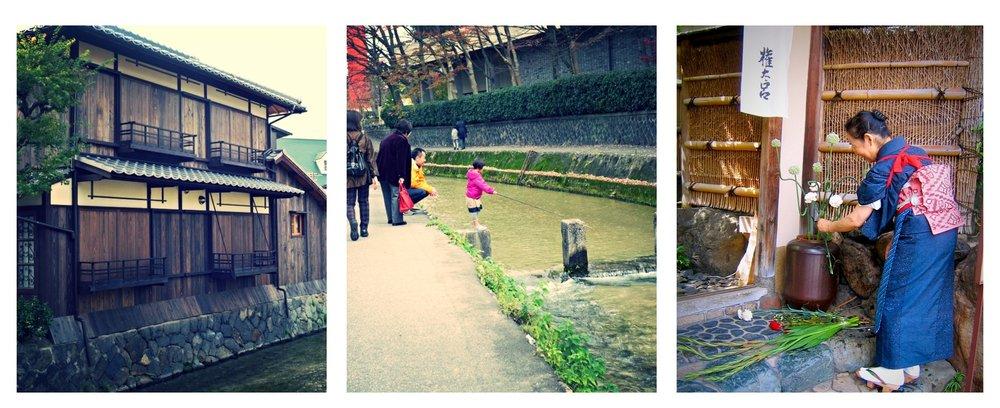 Aamukävelyllä itäisessä Kiotossa.  Kuvat : Taru Hurme. Kukkien asettelua sisäänkäynnin luona.  Kuva:  Annamari Konttinen.