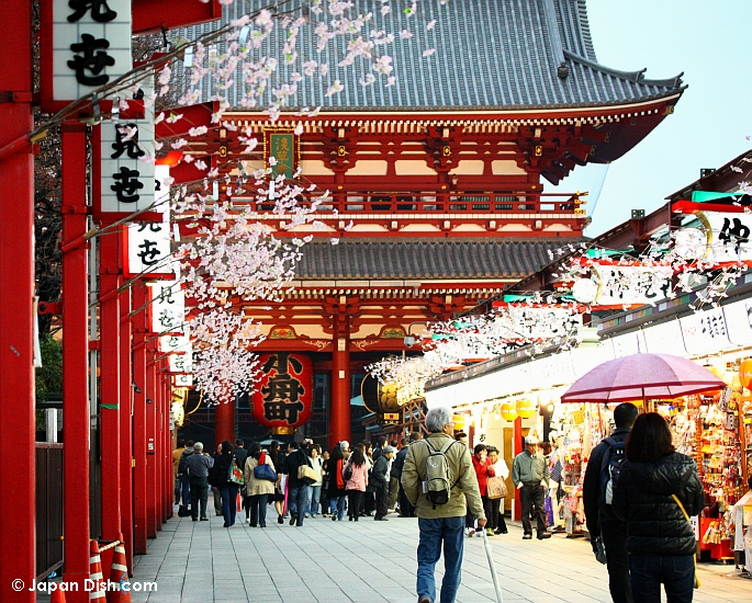 Yksi Japanin-matkojen must-kohteista: Asakusan Sensoji-temppeli ja sen kauppakuja.