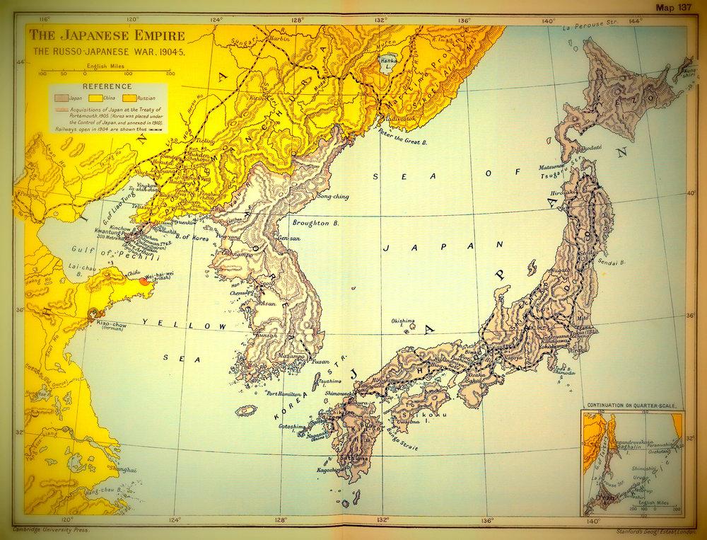 Japanin kartta vuodelta 1904.