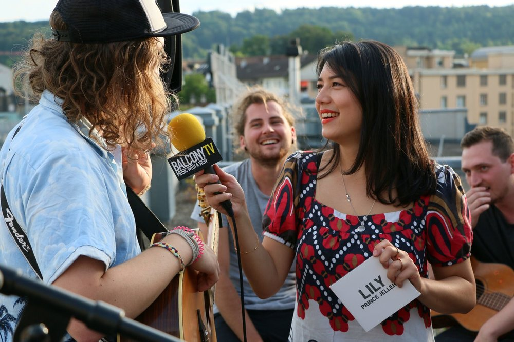 Interviewing Swiss band Prince Jelleh at BalconyTV 2016.