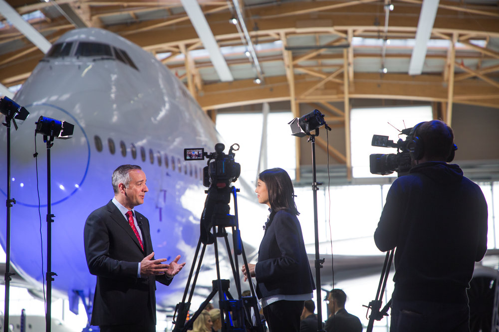 Interviewing Robert Smith, President of Jet Aviation for CNNMoney Switzerland in November 2018.