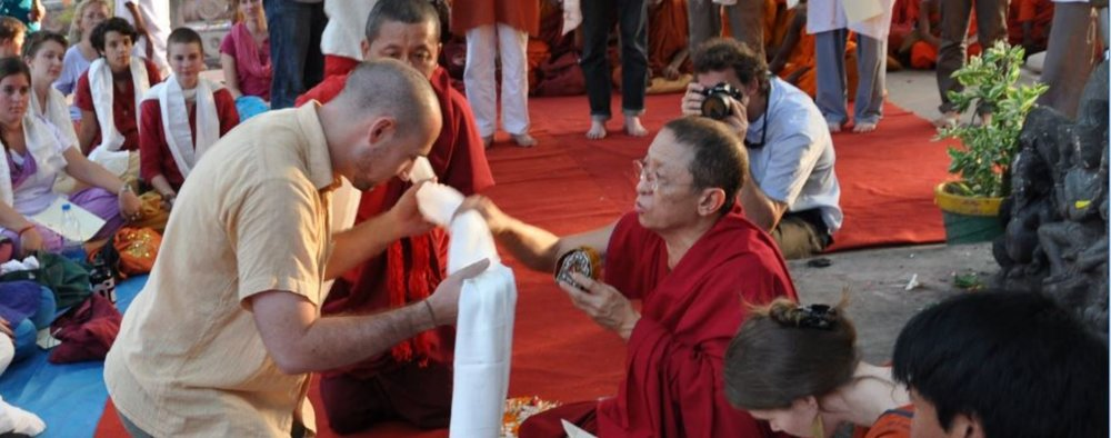 Justin taking Bodhisattva Vows with Chokyi Nyima Rinpoche at the Mahabodhi Stupa in Bodhgaya, India, 2010. Justin lived in Bodhgaya in the falls of 2010 and 2014 and taught Buddhist Philosophy to university students also living there with the Antioch Education Abroad program at the Burmese Monastery.