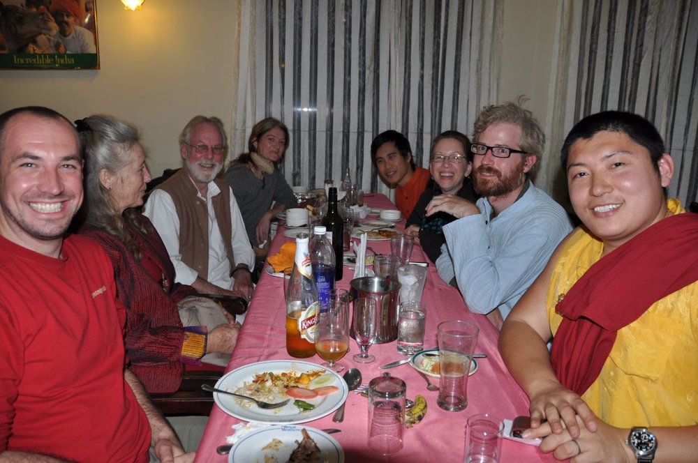 dinner with phakchok rinpoche at the Royal Residency Hotel, Bodhgaya.JPG