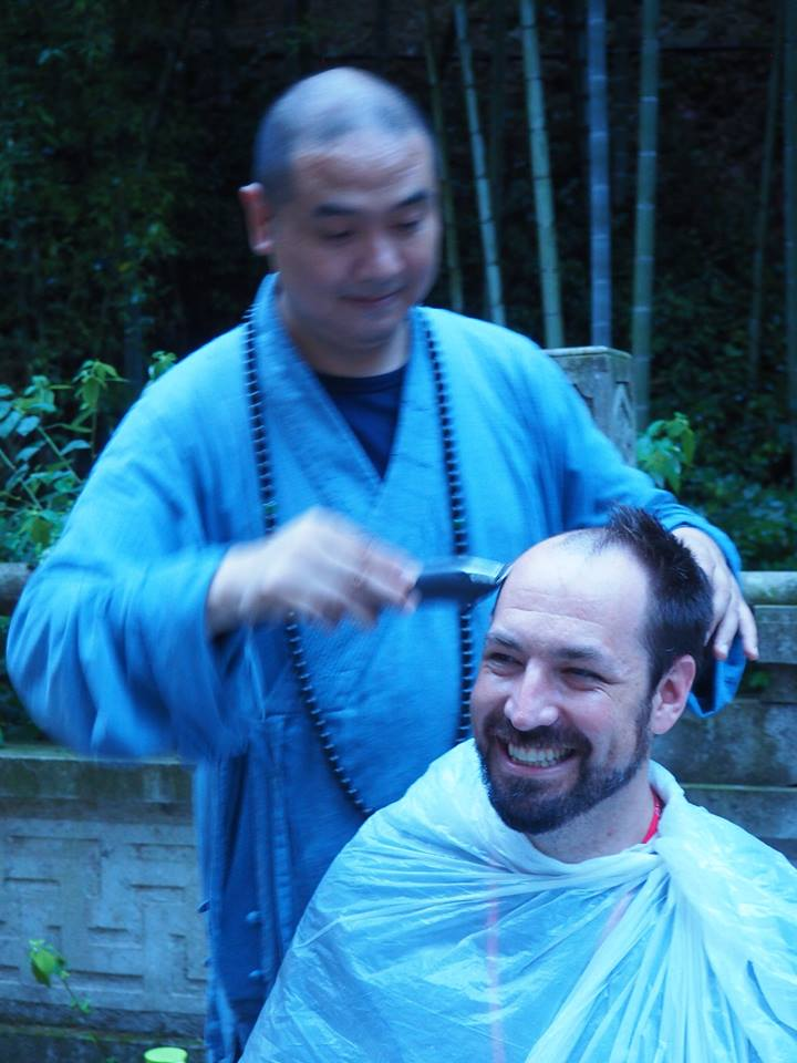 Head shaving at Jin'e Temple, China, 2017