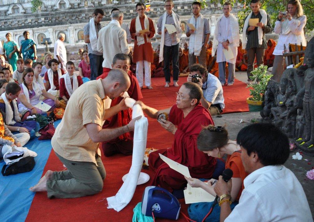 Taking Bodhisattva Vows with Chokyi Nyima Rinpoche, Mahabodhi Stupa, 2010