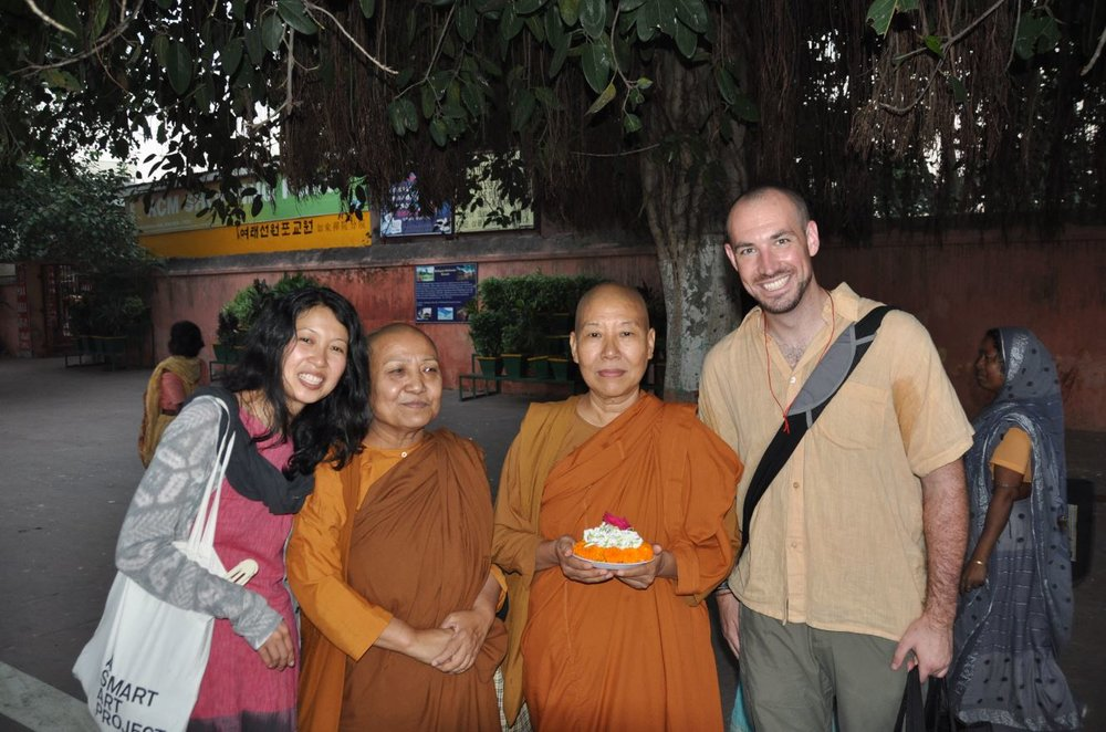 With Ven Dhamamoli and Dhamavijaya, Bodhgaya 2010