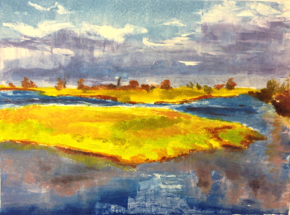 Plumb Island    water based monotype on paper    **SOLD**