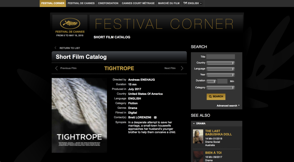 'Tightrope' accepted to Festival de Cannes