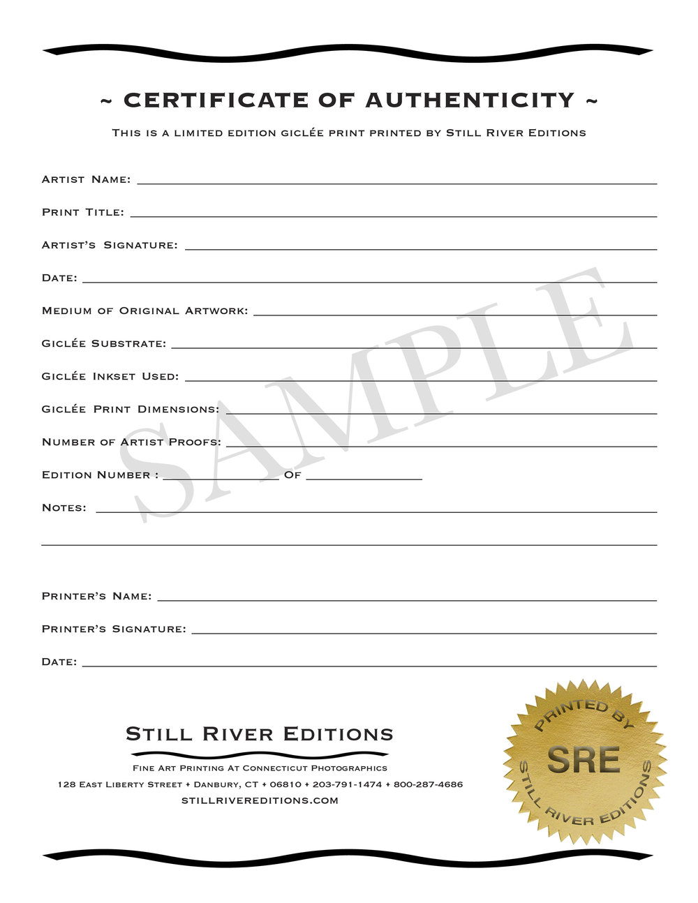 Still river editions fine art digital gicle printing still sample of certificate of authenticity yadclub Gallery