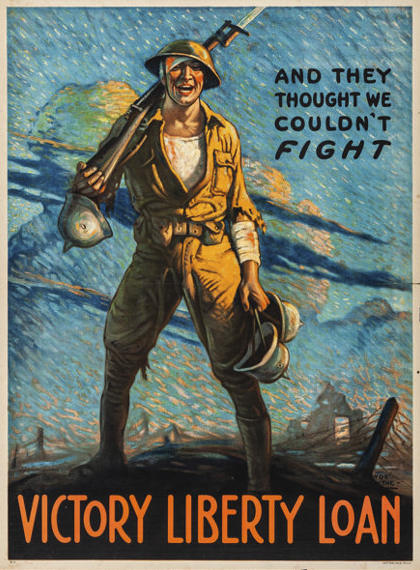 """And They Thought We Couldn't Fight - Victory Liberty Loan"" Clyde Forsythe Printed by Ketterlinus, Philadelphia, 1918"