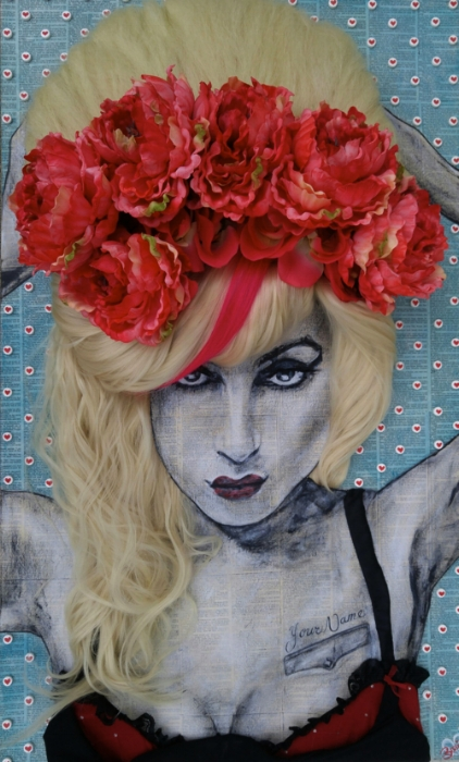Jessica Becker loves Rock Stars, and Mexican Artists, those who portray an amplified persona of themselves in images. She chooses existing images and reconstructs them through three dimensional mediums. -