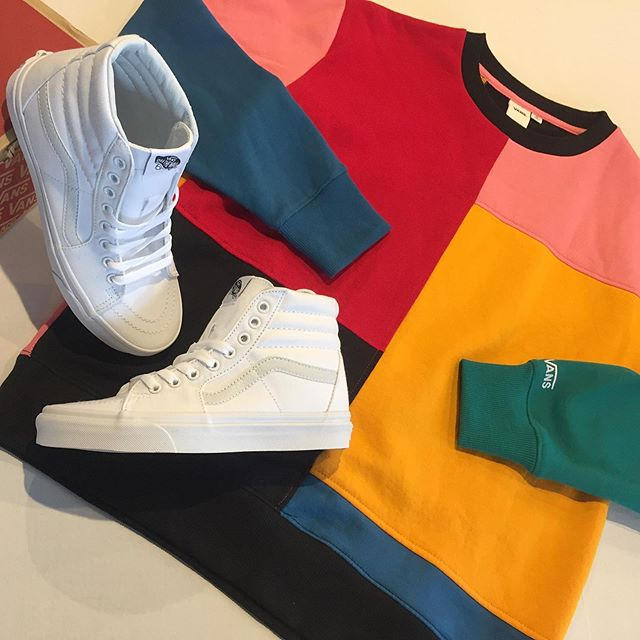 @vans women's Patchy patchwork crew sweater $54.50. Classic SK8-HI in true white. $65, women's sizing 6-10. . . . . #urbanesteamboat #steamboatsprings #vans #vansclassic #offthewall #sk8hi