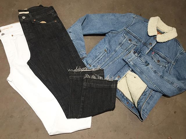 @levis womens Sherpa trucker jacket, wedgie straight denim, 711 skinny, and 721 high rise skinny denim. . . . . #urbanesteamboat #steamboatsprings #levis #leviswoman #sherpatrucker #levis711 #levis721 #leviswedgie
