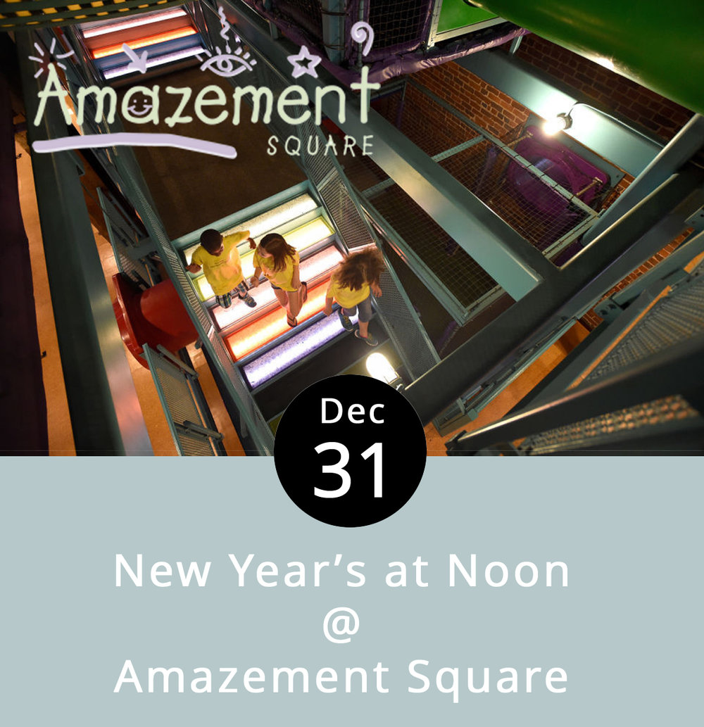 "For the little ones, Amazement Square is doing the right thing, and celebrating New Year's a little earlier in the day. New Year's at Noon start at 10 a.m. on the 31st, and the folks at Amazement Square are outfitting their adjacent warehouse space to accommodate a Glow-in-the-Dark Party, featuring plenty of neon, glow sticks, bubble-wrap ""fireworks,"" and a dance-a-thon. Milk and cookies will be provided, and the annual ""bug drop"" will take place at the strike of noon. Actually it's a giant spider that lowers over the dance floor, so technically it's an arthropod drop. The party goes until 3 p.m.; tickets are $14 for kids, $9 for adults, and $6 for seniors. Amazement Square is located downtown at 27 9th St. Call (434) 845-1888, or go to  Amazementsquare.org  for tix and info."