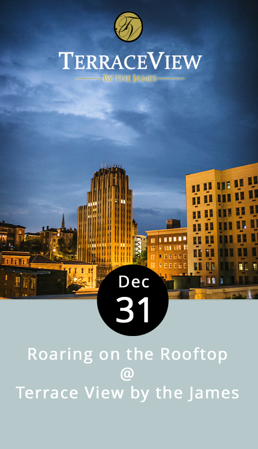 Lynchburg's own version of the Times Square ball drop is set to take place at the stroke of midnight at the Bank of the James building this New Year's Eve, and guests at Terrace View by the James will have a front row seat for the festivities. Located on the 8th-floor roof of the Bank of the James building, Terrace View by the James is turning the clock back to the swanky twenties as we move the calendar forward to 2017, with a Roaring on the Rooftop New Year's party. Guests are encouraged to don their  Great Gatsby  best as silk-stocking'd flappers or debonair gents. The local dance-rock band Dragonfly will provide the tunes. Party favors, hors d'oeuvres, and a champagne toast are included in the price of admission: $35 for singles; $60 per couple. The party starts at 8 p.m. at 828 Main St. Advance tickets are available from ACCENTS Flags, Gifts, Home & Garden, 1716 Main Street, or call Terrace View by the James at (434) 455-0384. Proceeds benefit the United Way of Central Virginia.  http://www.thedragonflyband.com/   https://www.facebook.com/events/2150910168466831/   http://www.cityviewbythejames.com/terrace-view.html