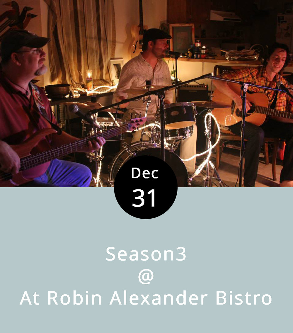 "Season3 describe themselves an ""organic soul-pop"" band. We're not entirely sure what that means, but we're guessing that there's an artisanal quality to their songcraft and no artificial flavorings. They'll be doing what comes naturally on New Year's Eve – laying down some soulful grooves for patrons at Robin Alexander Bistro's New Year's Eve bash. The bar staff will swing into action at 5 p.m. for happy hour, and the kitchen is serving up a three-course dinner for $23.99. The menu includes a salad starter (or spinach dip); a choice of a grilled filet, shrimp scampi, or lobster ravioli for the main course; and a petite key lime pie for dessert. The regular RA menu will also be available. Reservations aren't required, so seating is on a first come, first served basis. Call  (434) 845-1601  for more info. RA's is located downtown at 1344 Main Street.  http://www.rabistro.com/"
