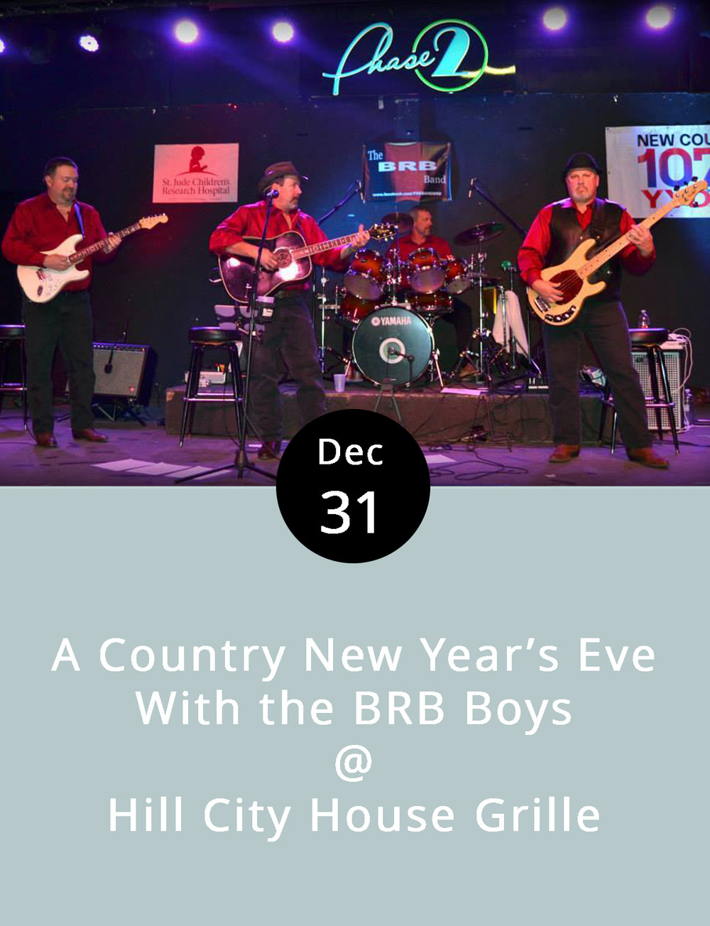 The Hill City House Grille is leaning in the general direction of Merle, Waylon, and Willie for its New Year's entertainment, as in Haggard, Jennings, and Nelson. Cowboy boots and Stetsons are optional, but a few tunes by the likes of George Jones and Conway Twitty are an absolute requirement when Rustburg's BRB Boys are in the house. That's Bo, Ronnie, and Billy, and they specialize in classic country music – the good stuff. They don't go on until 9 p.m. Prior to that, local singer-songwriter and friend of the site Josh Walker will warm up the dinnertime crowd starting at 5 p.m. The Hill City House Grille is offering a three-course early-bird dinner for two for $60, a $30 dinner for individuals, and a $15 champagne toast for those who arrive after dinner. Call (434) 237-6110 for reservations. The Hill City House Grille is located at 7001 Timberlake Rd., right off of Rte. 501.    http://www.hillcityhouse.com/event/new-years-eve-fun/