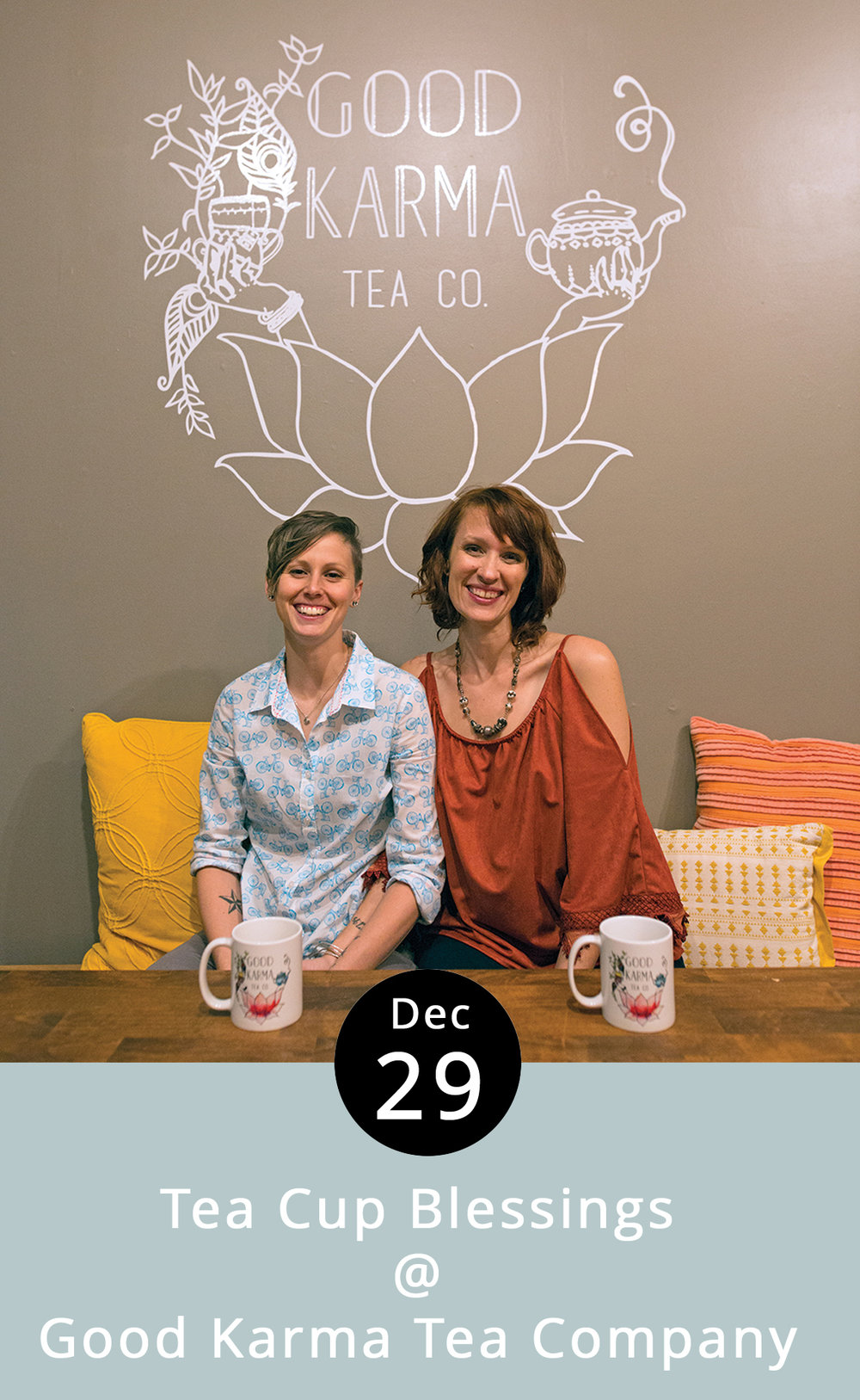 Put an herb-infused candle in a teacup and you've got what the folks at Good Karma Tea Company call a Tea Cup Blessing. They'll explain and offer a how-to workshop on making your very own New Year's candle, with a selection of vintage teacups, herbal supplies, fragrance oils, and blessing tags, on December 29th at 6 p.m. We're told that the herbs and flowers one selects – lavender, clover, fennel, and verbena, to name a few – reveal unique properties as the candle burns. Tickets for the event are $20, and include all the supplies, as well as a 10% discount on bulk herbs. The in-house tea bar will, of course, be open for service. Space is limited, so call ahead or go to  www.sipgoodkarma.com  to reserve a spot. Good Karma is located in the Riverviews Artspace, 901 Jefferson St., Suite 110; call (434)  515-2058.