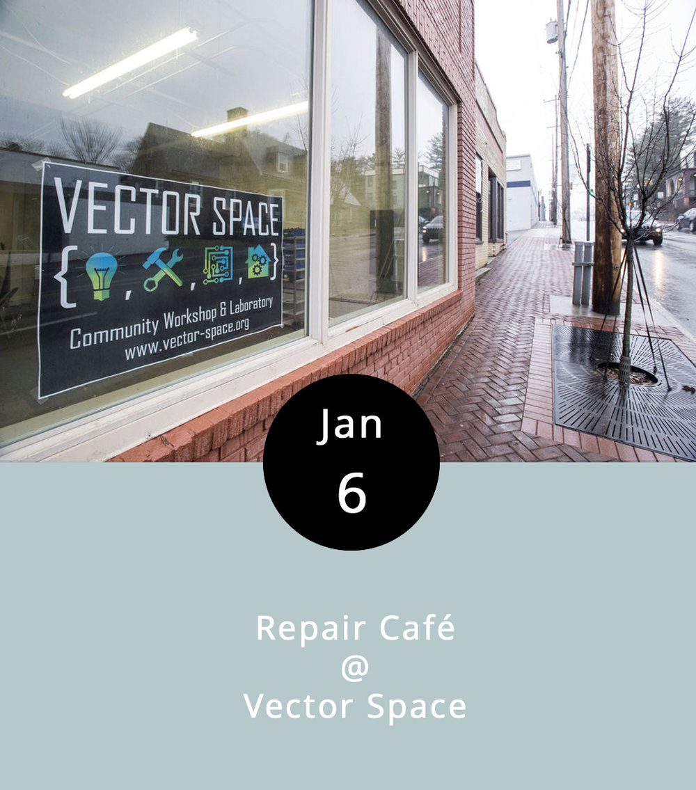 "We thought Repair Café would make for a good band name. Instead, it's a rather unique and coolly conceived event that doubles as an opportunity for those of you who might have a broken blender or some other malfunctioning appliance you've been meaning to fix for longer than you care to admit. Vector Space is a relatively new, nonprofit ""makerspace"" that allows members to drop by and work in shop areas devoted to woodworking, machining, textiles, and electronics. For the first First Friday of 2017, Vector Space is opening its doors and lending its members' expertise to aspiring tinkerers who'd like to try their hands at repairing broken items. The organization's Executive Director Elise Spontarelli promises that at least four professional ""fixers"" will on hand to help out from 5-8 p.m. There won't be any food – it's not that kind of café – but participants are welcome to bring their own refreshments. Vector Space is located at 402 Fifth Street; call (804) 387-1519 for more info.    Vector Space"