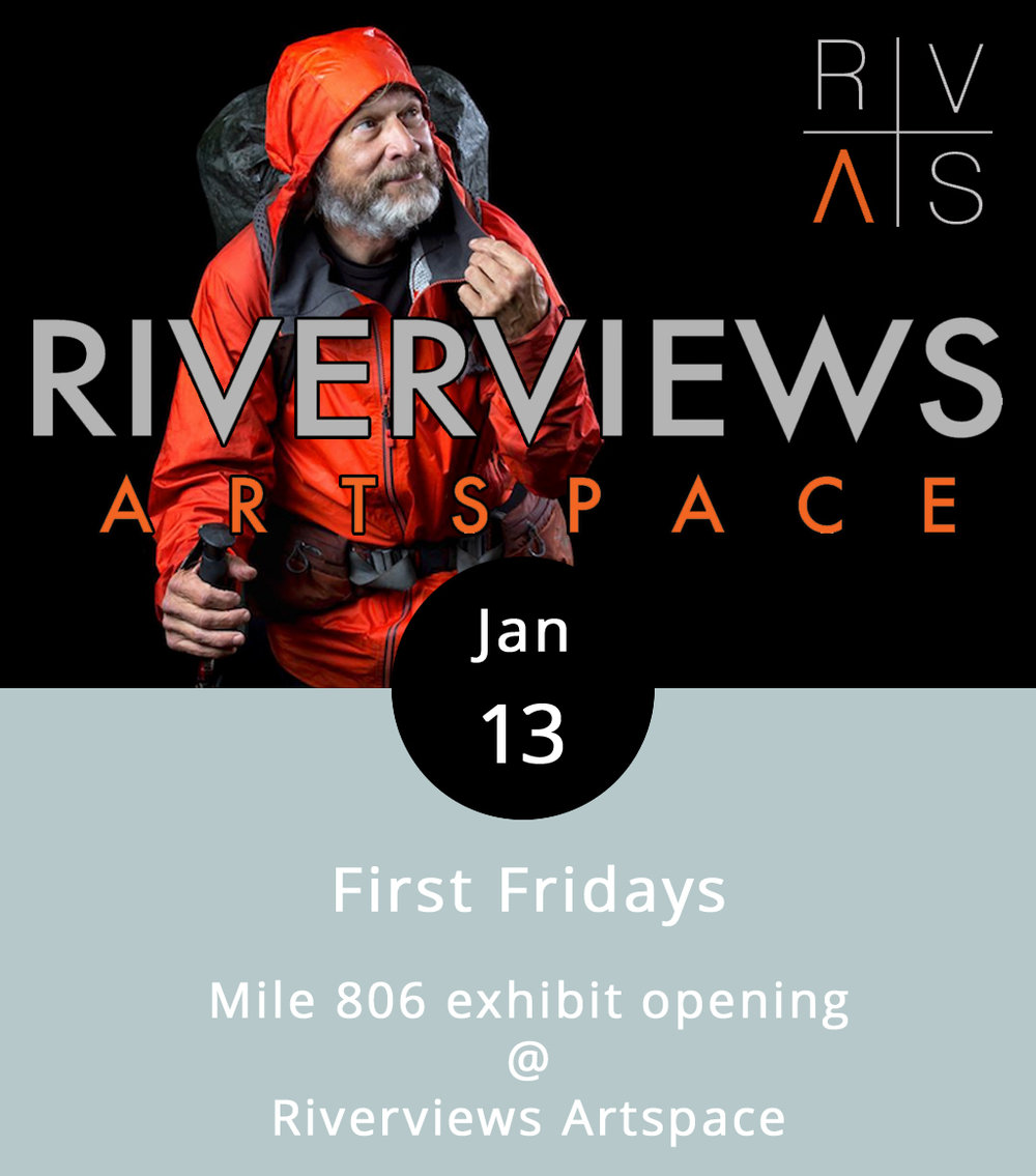 "First Fridays in Lynchburg generally means that there are at least a few downtown businesses hosting something a little special. But what you can almost always count on is a First Friday reception for a new exhibit in the Riverviews Artspace Craddock-Terry Gallery, and open studios in the building's artists' spaces. This month's exhibit poses the following question: What awaits the lone hiker at Mile 806? The answer lies in the images that local photographers Parker Michels-Boyce and Chet Strange captured of hikers they encountered at mile marker 806 of the Appalachian Trail. Those photos will be on display in the main gallery, which opens at 5:30 p.m., and the photographers will give a joint talk on their project at 6 p.m. This is the first exhibit of an ""Emerging Artist Series,"" and it'll be up through February 16. The gallery is open Wed.-Fri., noon-5 p.m. Riverviews is located at 901 Jefferson Street; call (434) 847-7277 for more info.  R  iverviews Artspace Emerging Artists"