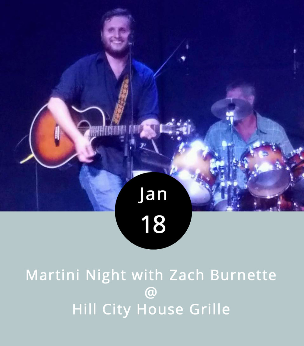 """Hill City House Grille hosts a Martini Night on Wednesdays that kinda, sorta doubles as a """"Girls' Night Out."""" To up the ante, they've got local country-music wunderkind Zach Burnette booked to play his version of swinging, bluesy, and sometimes even a bit boozy Americana classics just about every Wednesday for the foreseeable future. The martini specials are just five bucks, and Zach's a mighty handsome dude, who looks the part of a young and hungry Nashville star. Speaking of hungry, the Hill City bar menu features wings and other tasty things. The action starts at 7 p.m. and runs until 10 p.m., and there's no cover charge. The Hill City House Grille is located at 7001 Timberlake Road in Lynchburg; call (434) 237-6110 for more info, or click  here ."""