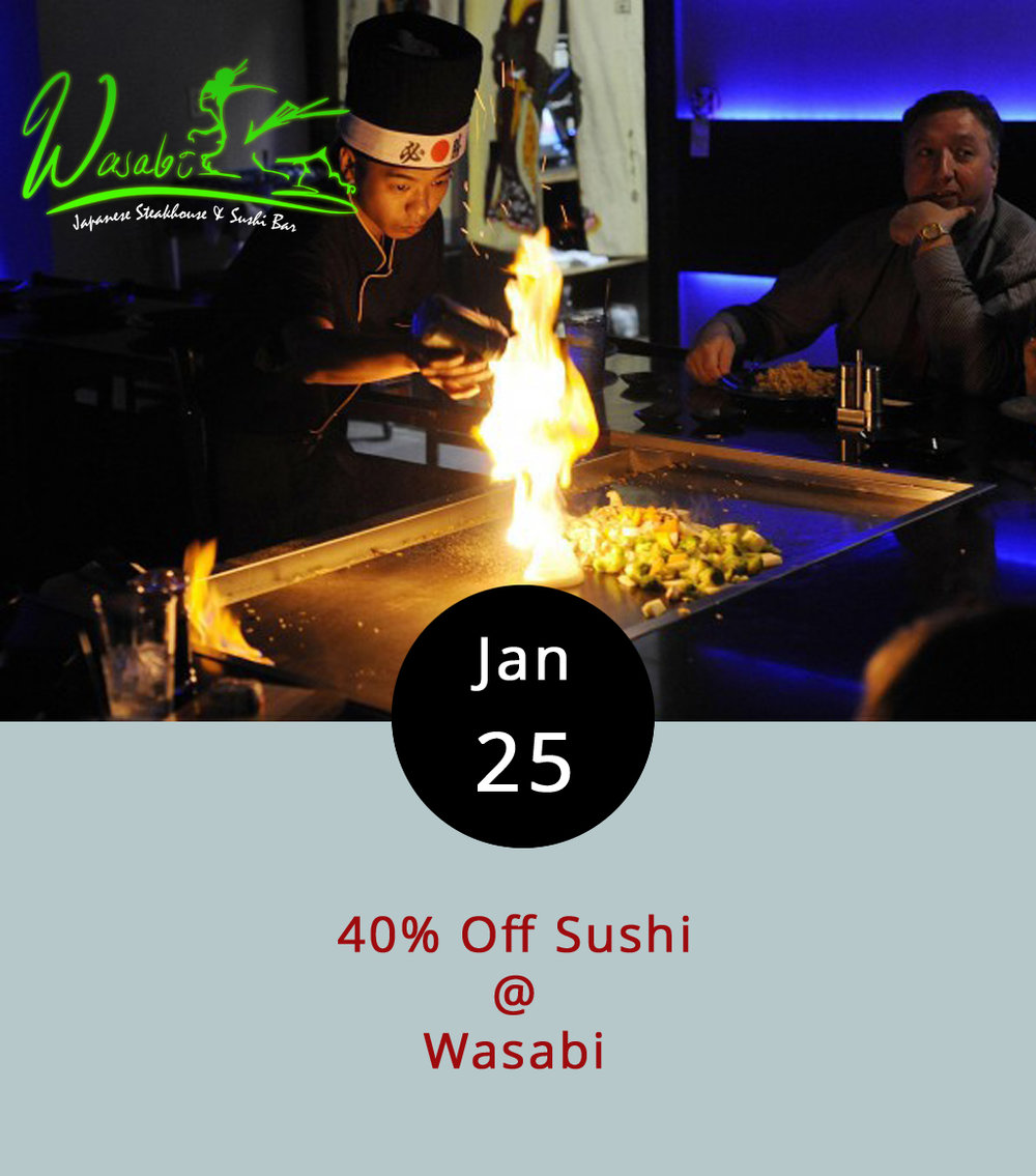 People tend to have strong feelings about sushi, in one direction of the other. Those who love it  really  love it, and those who don't, well, prefer something less raw. For the former, here's a nice tip: every Wednesday, including today, Wasabi Japanese Steakhouse & Sushi Bar offers their sushi rolls at a reduced rate — 40% off. We recommend the  tai  (red snapper), the  saba  (mackerel), and of course, that tried and true classic, the spicy tuna roll. Wasabi is located at 3700 Candlers Mountain Rd,; call (434) 847-1288 for more info, or click    here    to see the menu.