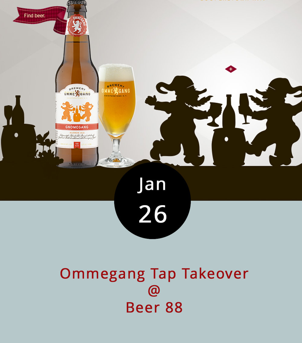 The good folks at Beer 88 are at it again – they're hosting a tap takeover featuring libations from Ommegang, a New York Brewery famous for its Belgian-style Ales. The plan is to feature a number of their briefs, such as their Rare Pos amber ale, Witte wheat ale, Great Beyond Double IPA,   Three Philosophers quadruple ale, and Gnomegang, which takes the prize for best name, and happens to be a blonde ale.   They will also be serving Ommegang / Urban Chestnut Collaboration, which, as the name suggests, is a collaborative strong ale created by Ommegang and Urban Chestnut. The fun starts at 5 pm and goes until closing time (midnight). We have to admit that we're more than a little curious to see how a pint of Gnomegang goes down with one of Beer 88's signature burgers.     For more info on the ales, go to Ommegang's  website . Beer 88 is located at 113 Hexham Dr.,; call (  434) 582.5025, or go to   www.beer88va.com  .