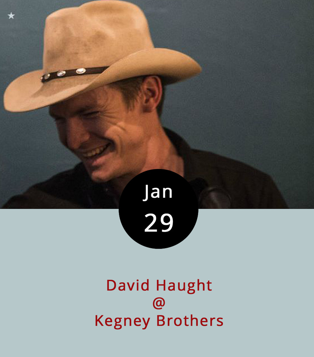 Bad news, everyone: local favorite musician David Haught is leaving town. But, he is playing one more gig before he hops on the caboose to the Big Apple. Haught performs at his old haunt, Kegney Brothers, one last time, tonight from 10 p.m.-2 a.m. Haught's music has a lively Americana country-rock sort of feel, which should mesh well with the friendly atmosphere of the Irish pub. Zach Burnette, another local staple, will be there as well, so expect to see the musical waters mingling just a bit. The event is 21+, and there's a cover of $3. For more info on Haught, visit his  Facebook page .  Kenny Brothers is located at 1118 Main St.; call (434) 616-6691 or go to   http://kegneybrothers.com  .