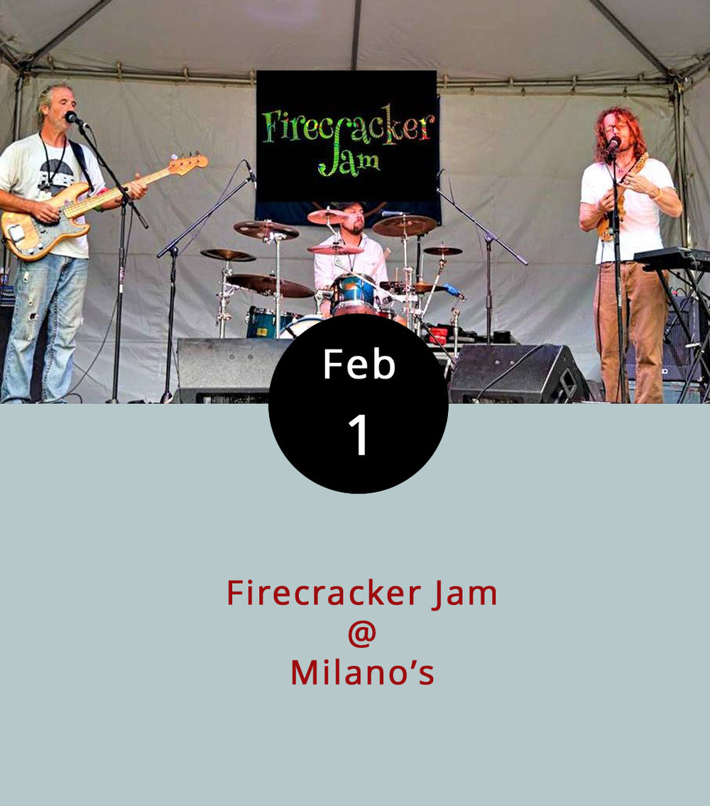 You wouldn't know it if you're just used to grabbing a pizza or maybe a calzone (we highly recommend the underrated spinach calzone) at Milano's, but they have live music in the bar area pretty regularly. And tonight's one of those times. The local mandolin-driven jam band Firecracker Jam will be heating things up starting around 7:30 p.m. And that's just the start of a busy weekend for the trio's frontman Billy Berger. Berger's also bringing his mandolin to  Dish  (1120 Main St.) for a solo show that starts at 8 p.m. on Friday, Feb. 2. And he'll be playing at  Apocalypse Ale Works  (1257 Burnbridge Rd.) in Forest for another solo show on Saturday night, Feb. 3, at 8 p.m.  Milano's  is located at 4327 Boonsboro Rd.; call (434) 384 3400 for more info. For more on the show, click  here .