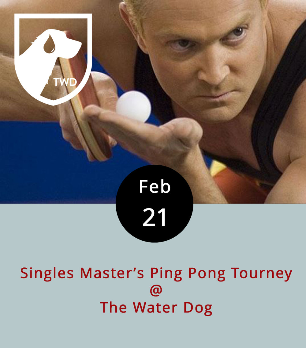 The competition is sure to get heated when the paddles come out at  the Water Dog  (1016 Jefferson St.) tonight for the  Singles Master's Ping Pong Tourney . After all, there's real cash-money on the line. It's too late to sign up to play – all 16 spots are taken. But, there's plenty of room for spectators, and spectating is good excuse to sample from among the bountiful beers on tap and oysters on ice. The action gets underway at 6 p.m. and runs until about 10 p.m. Call (434) 333-4681.