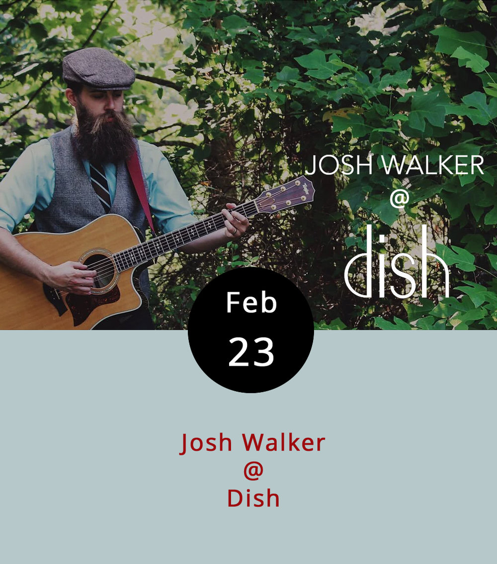 Looks like local singer-songwriter Josh Walker is going to be leaving town this summer to seek his fortunes out west, in the mile-high city of Denver. Until then, we'll be keeping you updated on his gigs around town. Dude can sing. He writes well too, in the storytelling Americana vein. Tonight he's the main attraction at the Local Lounge night that  Dish  (1120 Main St.) hosts every Thursday. The music starts at 8 p.m., so you can get still grab some dinner, and runs until around 11 p.m. Check out Walker's music  here . There's no cover; call (434) 528-0070. Tomorrow night, Walker and his pal Ben Delaurentis are teaming up for a 7-10 p.m. show at Charley's (707 Graves Mill Rd.).