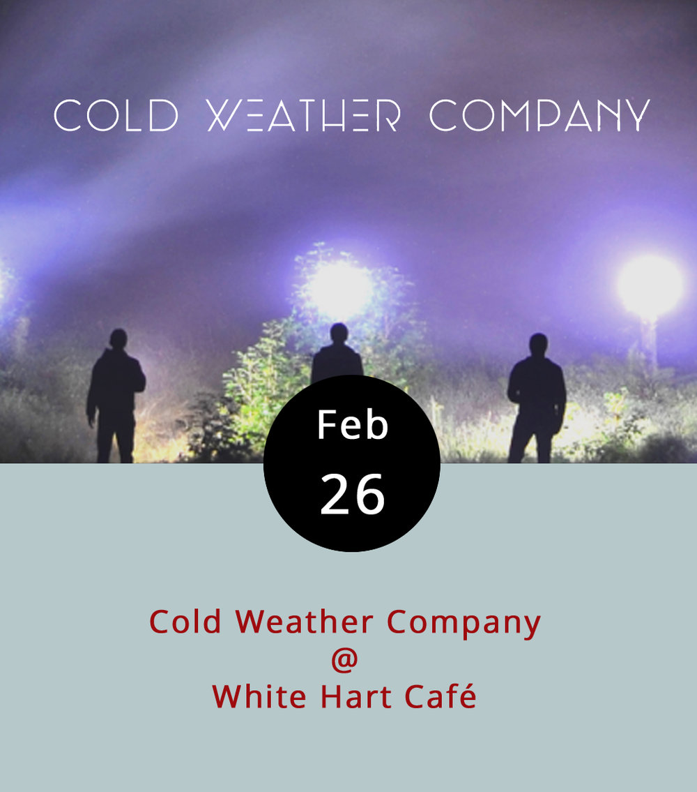 Cold Weather Company could be the name of an exclusive purveyor of fine winter coat-erie. Or not. Actually, they're not. They're a trio of New Jersey-based folk-rock dudes whose sound is easy listening in a very indie sorta way – a little Brit-pop Coldplay crossed with the smooth French Floydian stylings of Syd Matters. Lynchburg is the third stop on their A Folded LetTour (it's a bit of a pun, and it references their most recent album). They're performing at the  White Hart  this evening from 6-8:30 pm. Sample some Cold Weather Company  here . Call (434) 207-5600 for more info.