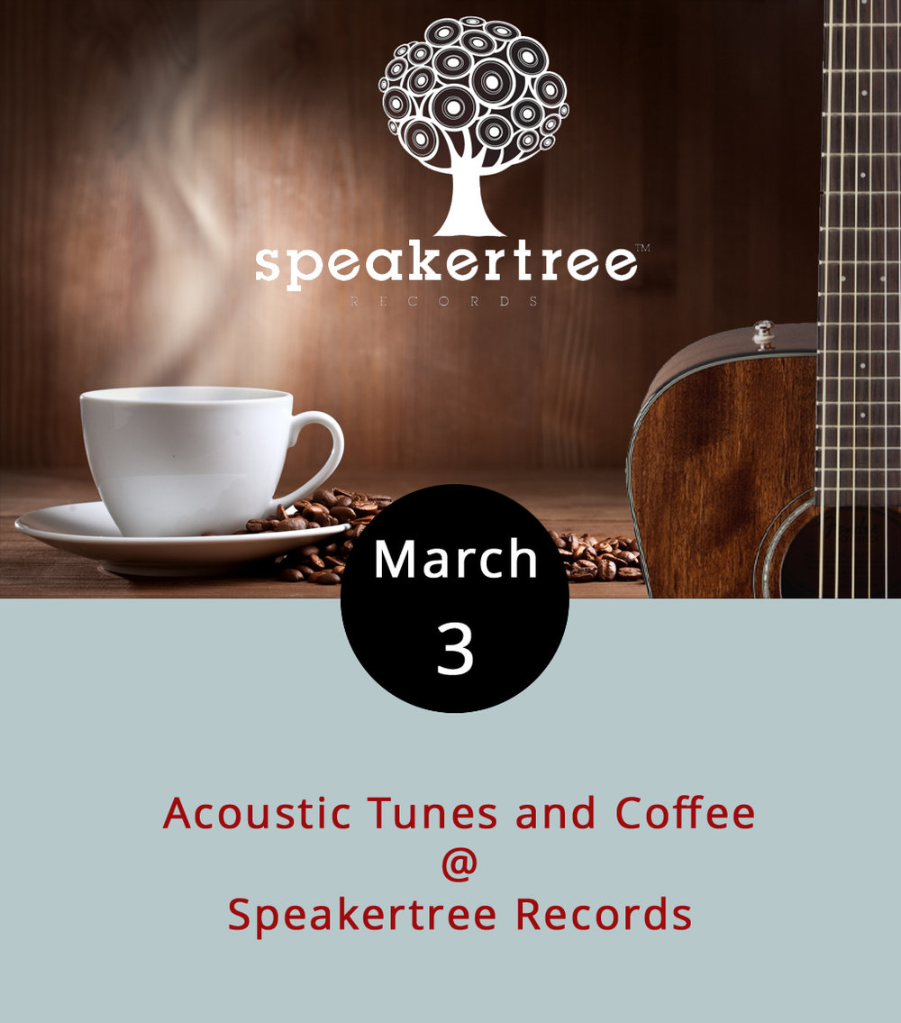 So here's a cool way to get to know your local record store a little better:  acoustic tunes and coffee . Okay, so it's not top-notch branding, but it's not a bad idea either. With a little help from their friends at the locally owned roastery  Four Corners Coffee Co. , Speakertree Records (522 5th St.) is hosting a laid-back yet passionate evening of acoustic music and finely brewed coffee. The performers are Logan Patton, Zach Ulmer, Wes Montgomery, and Tyler Wilson, and the beans are from Four Corners. Doors are at 7, and the music should go until 10 p.m. Admission is $3; call (434) 485-8262 for more info.