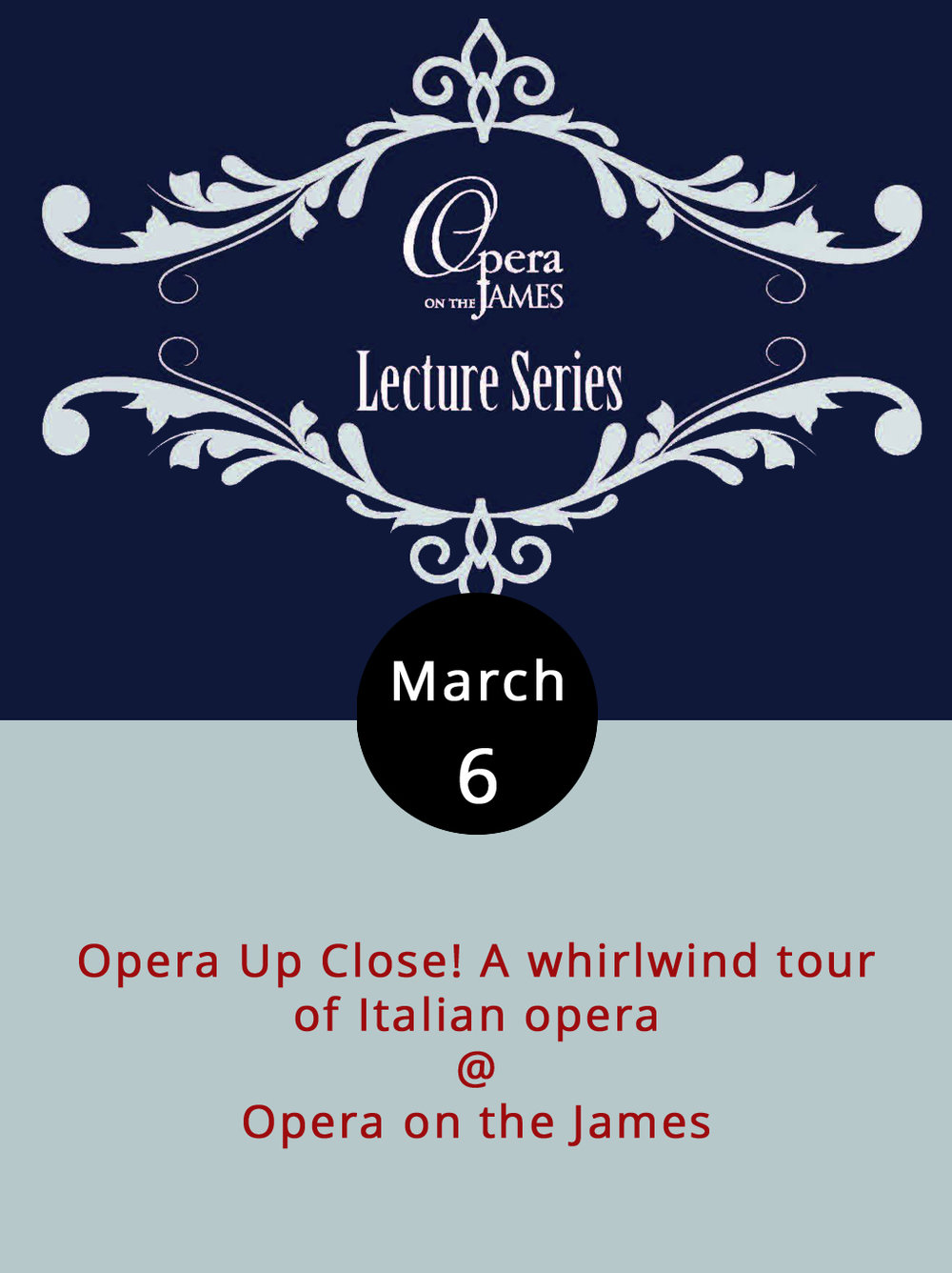 Opera is one of those things that much easier to enjoy when, like a lot of thing, you've got a little bit of knowledge to work with. Opera on the James is currently gearing up for a big production of Verdi's  Fallstaff  on March 31 and April 2 (for tix click  here ). Since it's an Italian opera (a lot of the best ones are), they've scheduled a series of preparatory talks throughout the month, starting with an Opera Up Close overview of Italian opera. Professor Bettye Chambers, who teaches at Georgetown, will do the presenting this evening from 7-8:30 p.m. at Opera on the James (701 Main St.). It's free and open to the public, as is the reception afterward. Call (434) 528-3397 for more info.