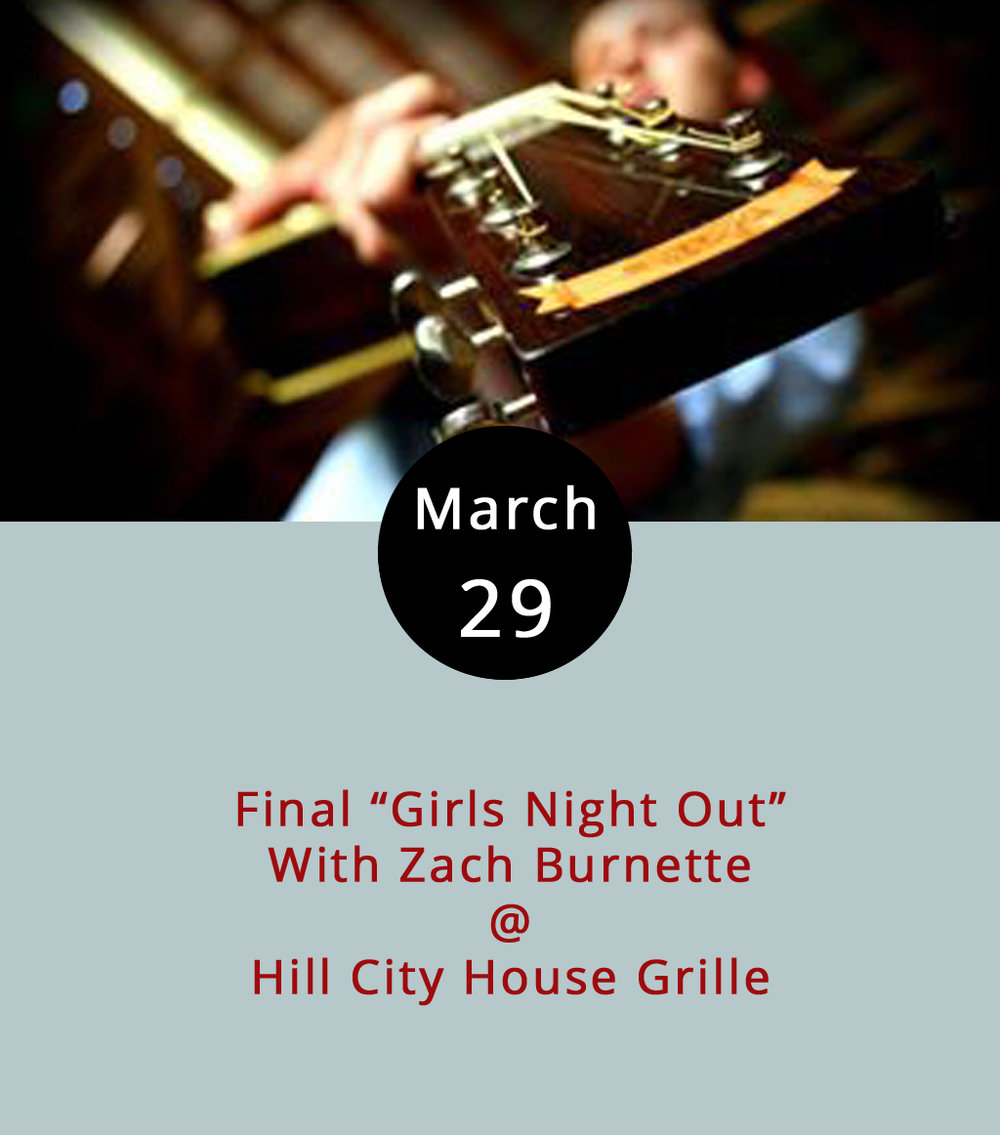 "It's been a long time coming and, frankly, here at LynchburgDoes we're nearly speechless. The  Hill City House Grille  (7001 Timberlake Rd.) is closing in just two days, which means this is the final time that local country crooner Zach Burnette will provide the musical backdrop for the weekly ""Girls Night Out"" extravaganza in the Grille's cozy-cool, old-school bar. The martinis, and other types of drinks, shall be flowing. And we're guessing Zach's got at least a little something special planned after his long run as the Wednesday night Hill City House attraction. There's no cover; the music runs from 7-10 p.m.; call (434) 237-6110 for more info."
