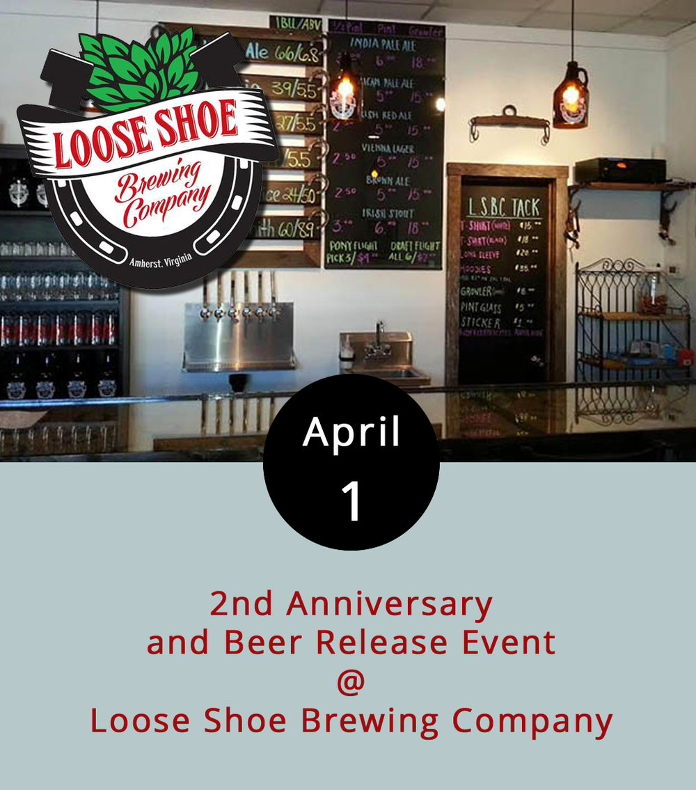 The taproom at Amherst's Loose Shoe Brewing Company (1270 Thrashers Creek Rd.) should be in a rather festive state this evening from 6:30-10 p.m. For starters, it's the brewery's second anniversary celebration. Better yet, they've got a new beer on tap – their first Pilsner-style brew. There will be music by Concord's-own Six-O-Nine Band. And we also heard something about Irish Car Bomb cupcakes. For more info on the festivities, the Pils, and those cupcakes, call (434) 946-2337, or click  here .