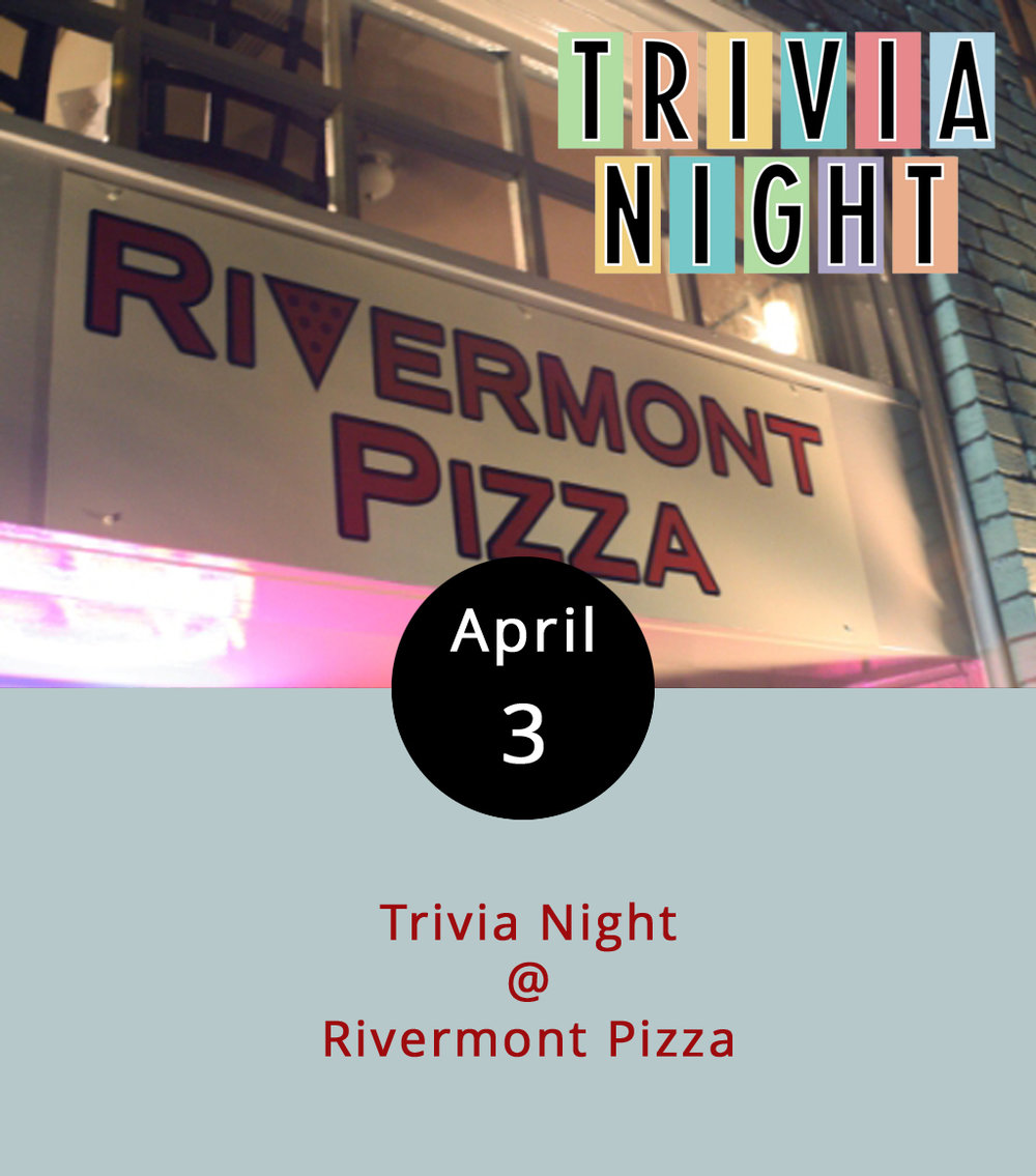 Monday night is always trivia night at Rivermont Pizza (2496 Rivermont Ave.). But, if tonight's anything like last Monday, then you might want to arrive early in order to secure a table and a team. By 9 p.m. the main dining room should be filling up with local masters of minutiae and pursuers of all things trivial. Some teams arrive fully formed; other coalesce at the bar. Grab a pizza, a pint or two, and give your brain a little workout. The winners get an RP gift card. Call (434) 846-2877 for more info, or go to the RP  website .