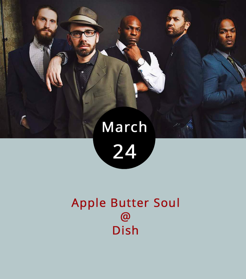 If all you've ever done at  Dish  (1120 Main St.) is enjoy chef Dave Ellis' thoughtful small plates, then you might not know that the dining room typically transforms into a dance floor on most weekend nights. Usually, the music is provided by DJs. But tonight's kinda special. The local groove band Applebutter Soul, who bring serious jazz chops to playfully funked up pop and soul music, will be in the house to facilitate the part from 10 p.m.-1 a.m. There's usually a cover charge (probably $5); call (434) 528-0070 for more info.