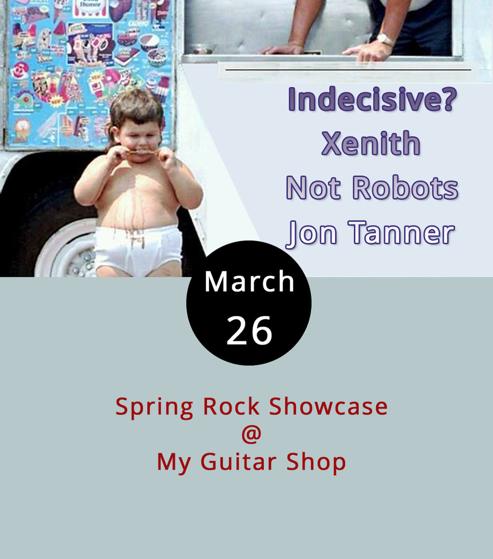 "Our buddy Jake out at My Guitar Shop (4529 S. Amherst Hwy.) is welcoming the spring season in an appropriate way: he's putting on a rock show. Sometimes, Jake does shows in the parking lot, which is cool. But, this one's going to be inside from 2-5 p.m., just in case those spring showers come a'calling. Here's who's on the bill: Indecisive? (""spastic grunge punk""); Xenith (""classic grunge rock""); Hill City Robots (""Hill City rock & roll""); Jon Tanner (solo acoustic Nirvana favorites). In other words, we could have easily called this Sunday Grungy Sunday. Admission is free; call (434) 534-7110 for more info, or click  here ."