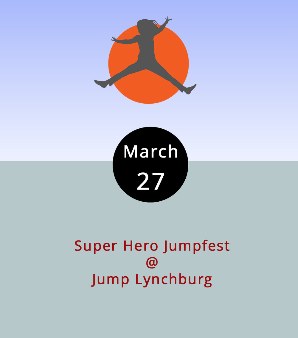 Superheroes are fun. Trampoline parks are fun. Cancer is not. So, for four hours today, the local mobile app company Lynchburg Loyalty is helping the fight against cancer by inviting kids big and small to come out and bounce around and up and down at Jump Lynchburg (3700 Candlers Mountain Rd.) dressed as superheroes. Tickets are $12, and proceeds go to the Cancer Patient Support Fund of the Pearson Regional Cancer Center. Large groups of jumpers and others who want to seure a spot should register in advance  right here ; more info about Jump Lynchburg is available  here . The jumping commences at 5 p.m. and goes until 9. Call (434) 338-1376.