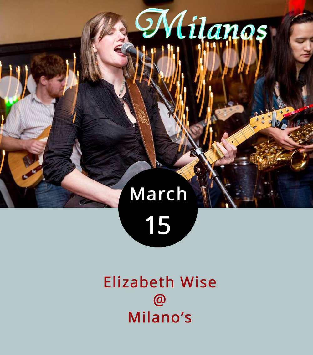 "Richmond-bred blues singer and guitarist Elizabeth Wise returns to the Lynchburg area for one of her frequent visits this week. Tonight she'll bring her guitar and her steel slide over to  Milano's  (4327 Boonsboro Rd.), where she'll be holding court in the bar area from 7:30-10:30 p.m. We want to give a shout out to Wise's version of the Sippie Wallace tune  ""Women Be Wise,""  and to the humble calzone, an oft overlooked option on the Milano's  menu . There's no cover for tonight's show; call (434) 384-3400 for more info. Wise is sticking around town to play the Local Lounge showcase at  Dish  (1120 Main St.) tomorrow from 8:30-11 p.m. That show's also free; call (434) 528-0070 for details."