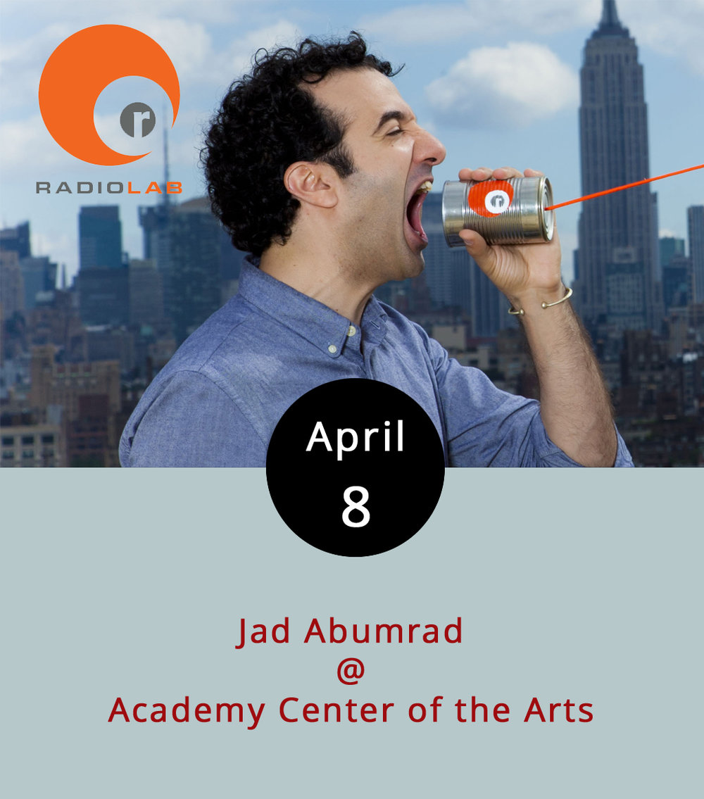 "Jad Abumrad is the creative genius behind  Radiolab , a trailblazing and very cool NPR radio show produced out of NYC that launched back in 2008 and helped set the parameters for what podcasts have become. Really, it's one of the best ""talk"" shows on radio, a top ranking podcast, and just a smart, insightful, and entertaining hour of exploration into science, philosophy, sociology, and all kinds of other stuff. Abumrad also produced and hosted a very timely  Radiolab  spinoff last year about the history of the Supreme Court called  More Perfect . Find it right  here . Abumrad comes to the Academy Center of the Arts (519 Commerce St.) to talk about what he does, how he does it, and why you should care. The show starts at 7:30 p.m., and tickets are $18 for students, $28 for seniors, and $35 for everyone else. There are also a limited number of $100 VIP tickets for a meet and greet that starts at 6 p.m. Call (434) 528-3256, or click  here  for tickets."