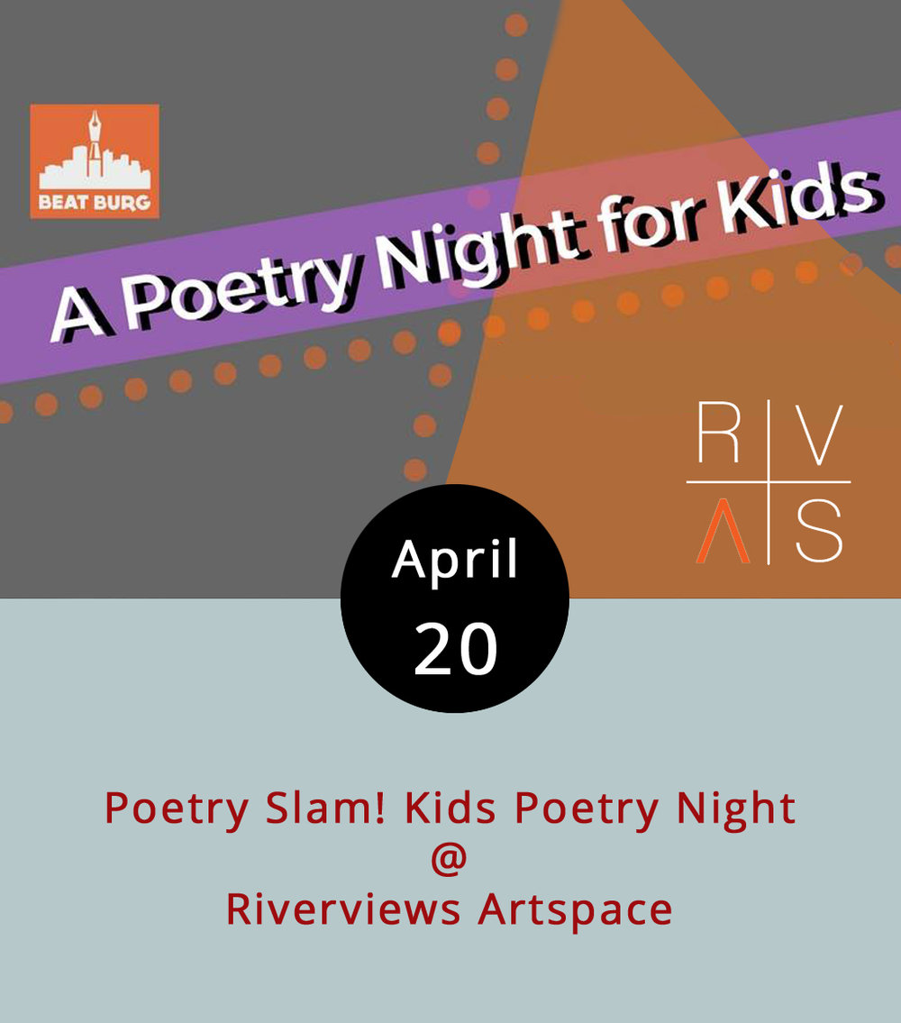 The National Poetry Month celebration at Riverviews (901 Jefferson St.) continues this evening with a poetry slam for kids. As part of the Beat Burg program, Riverviews is hosting a friendly competition featuring kids from Dunbar Middle and R.S. Payne Elementary schools from 7-8:30 p.m. Light refreshments will be available and, after the poetry is presented, a premier poet will be crowned (metaphorically, that is). This event is free and open to the public. For info on how to submit poetry to the contest, call Riverviews (434) 847-7277, or email the gallery at  info@rivervews.net .