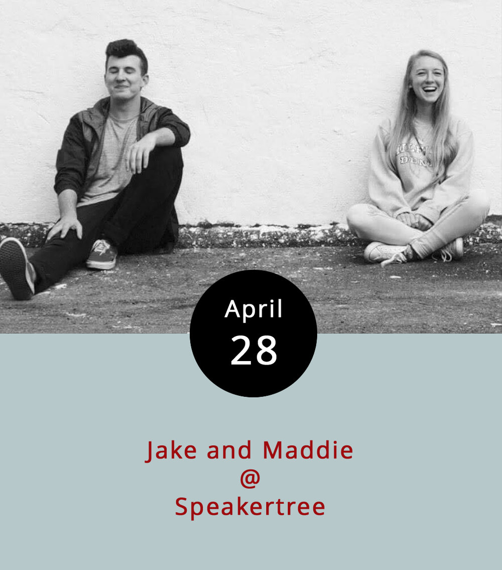 "In July of 2010, Jake  Williams  and Maddie  Weigelt uploaded the first episode of  The Jake and Maddie Show , a quirky, homespun, low-budget comedy show that launched their careers as bona-fide YouTube celebs of a sort. They've branched out to include YouTube comedy shorts like the satirical  ""The Kidsney Channel,""   and a bunch of other funny stuff that you can find on their  Jake and Maddie YouTube channel . Tonight they'll be in town to perform live at the first ever comedy show hosted by Speakertree (522 5th St.). The record shop will also be open, so you can search around for some classic, pre-YouTube comedy vinyl if you're so inclined. The performance starts at 7:30 p.m., and there's a cover charge of $3; call 434) 485-8262, or click  here ."