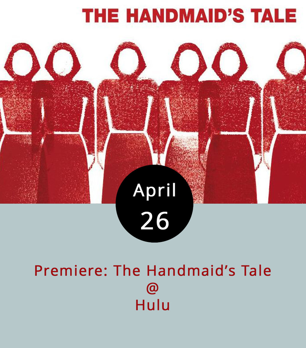 The Disney/Fox/Time Warner/Comcast experiment in off-brand TV subscription services is called Hulu, and we wouldn't even be mentioning it if it weren't for an adaptation of Margaret Atwood's creepy weird 1985 novel  The Handmaid's Tale  that is premiering today, with the first three episodes of what will be a ten-episode season. A dystopian story of repression and reproduction,  Tale  stars Elisabeth Moss (a/k/a Zoey Bartlet  and  Peggy Olson) as the rebellious handmaid Offred, Joseph Fiennes as the Commander, and a bunch of other actors playing characters that weren't even in the book. Because of the novel's focus – authoritarianism, religious fanaticism, feminism and a whole bunch of other -isms — it's been on a lot of reading lists of late. To take a look at a trailer, click  here . To get a free, one-month trial of Hulu, click  here .