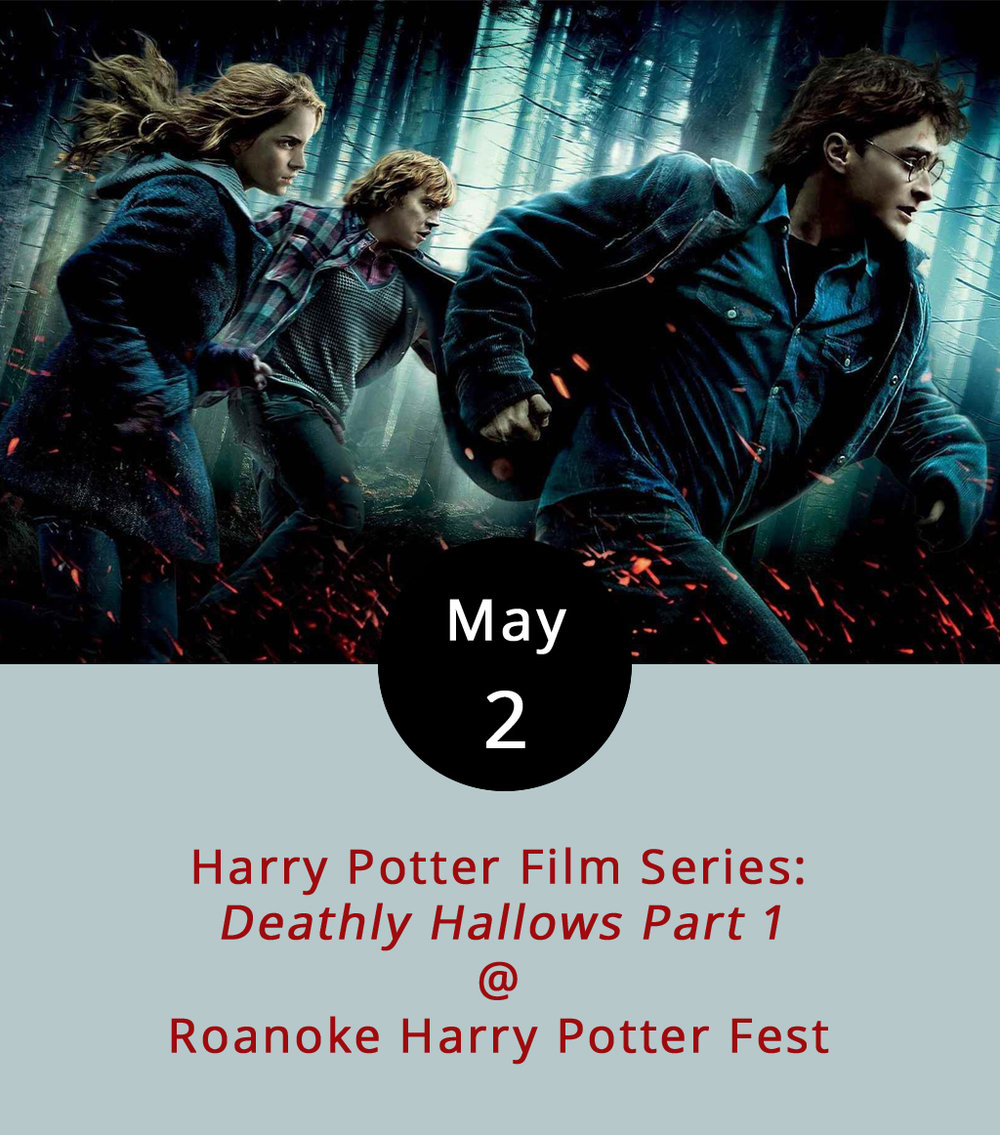 So, there's going to be a Harry Potter Fest in Roanoke on May 13, and you can bet we're going to keep you posted concerning any developments on that front, like the Hogwarts in Roanoke t-shirts that are now available at the  Potter Fest online store . In the meantime, the festival is gearing up for the big event with a Harry Potter film series. The screenings are taking place on Tuesdays at the Roanoke City Market Building (32 Market Square SE). This week, it's the beginning of the end — literally.  The Deathly Hallows Part 1  is the first half of the two-film finale to the Harry Potter series, and some consider it to be the best film in the entire franchise. Vendors will be onsite to provide for all your Harry Potter-themed food and drink needs. Showtime is 7 p.m.; tickets are a measly (or is that Weasley?) $5. Call (540) 597-9382, or click  here  for more info.