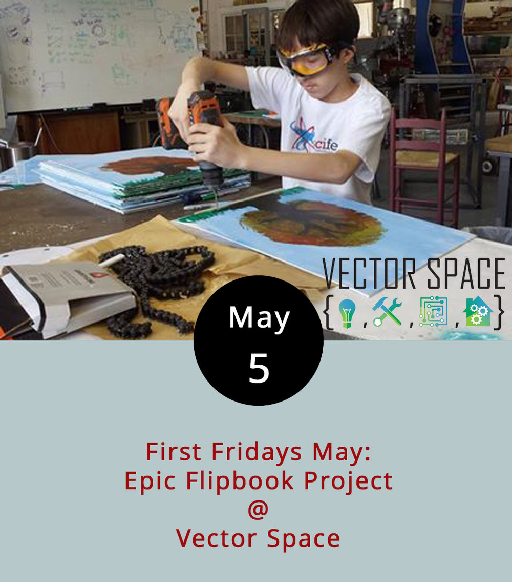 Did you ever make flipbooks as a kid? You know, little comics drawn on sticky note pads that became primitive animations when you flipped through them? Local maker-space Vector Space (402 5th St.) has made something a little more high-tech. Over spring break, Vector Space and Riverviews Artspace held a STEAM (Science, Technology, Engineering, Art, and Math) workshop for students to build two giant flipbook machines, which function in largely the same way as those books of sticky notes, but with a lot more panache. For this First Friday, from 5-8 p.m., Vector Space will reveal contents of both flipbooks, which are powered by bikes and, intriguingly, recliners. Click  here  for more info, or call (434) 515-1584.